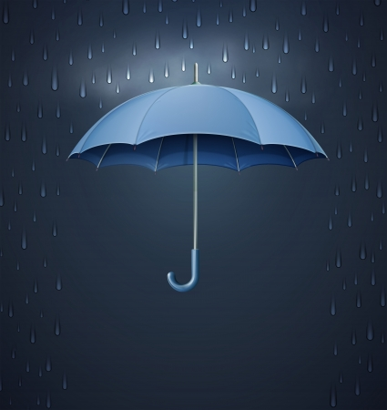 storm rain: Vector illustration of cool single weather icon - elegant opened umbrella with heavy fall rain in the dark sky