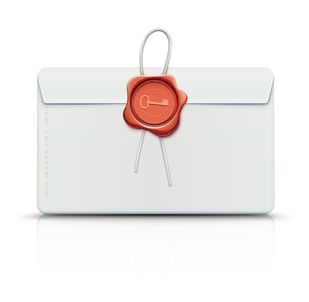 substitute: Vector illustration of close detailed post envelope with red old-fashioned wax seal. Use with included key design, or substitute your own initials or insignia.