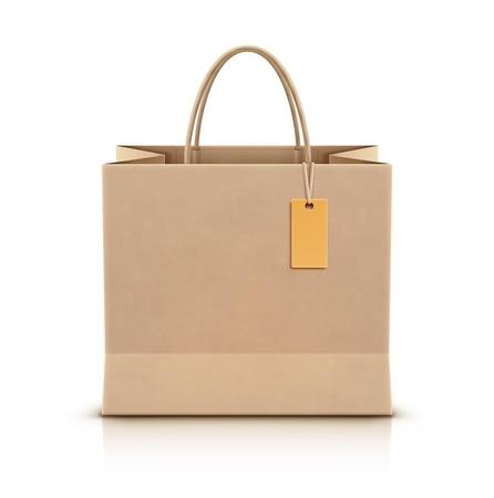 shopping bag icon: Vektor-Illustration von Papier Einkaufstasche mit Papier Griffe und funky tag Illustration
