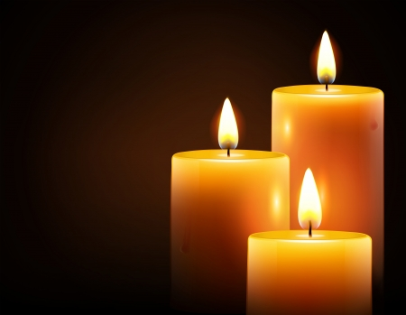 three objects: Vector illustration of three yellow candles on dark background