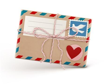 carta de amor: Ilustraci�n vectorial de funky retro sobre de correo a�reo con el sello aislado sobre fondo blanco