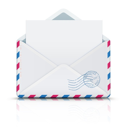 ゴム製スタンプと開いた空航空郵便封筒の図