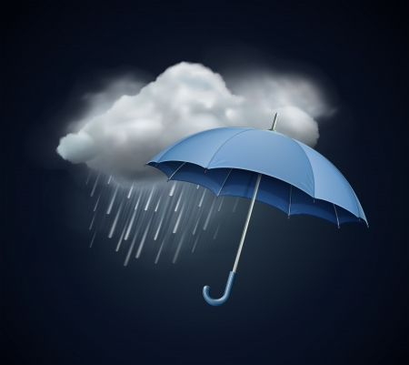 storm rain: illustration of cool single weather icon - elegant opened umbrella and cloud with heavy fall rain in the dark sky