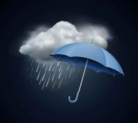 lluvia paraguas: ilustración del icono fresco clima único - elegante paraguas abierto y la nube con lluvia fuerte caída en el cielo oscuro