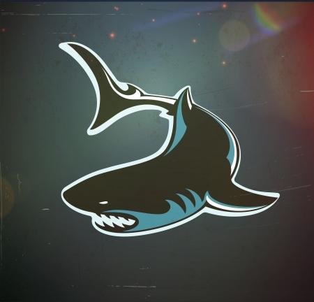 楽しいイラスト漫画水の転換様式化された怒ってサメ