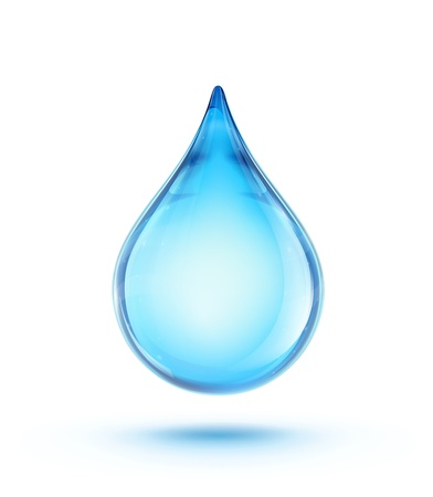 water:  illustration of a single blue shiny water drop