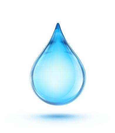 conservacion del agua: ilustración de una sola gota de agua azul brillante Vectores
