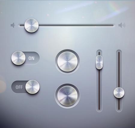 botones musica: ilustraci�n conjunto de la interfaz de usuario detallado perilla elementos, interruptores y slider con estilo met�lico Bueno para tus sitios web, blogs o aplicaciones