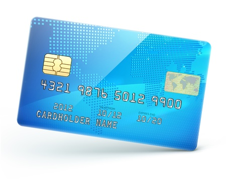 credit card payment: illustration of detailed glossy blue credit card isolated on white background
