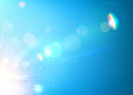 lens flare: illustrazione di morbido sfondo blu astratto con bokeh, lens flare e striature di luce Vettoriali
