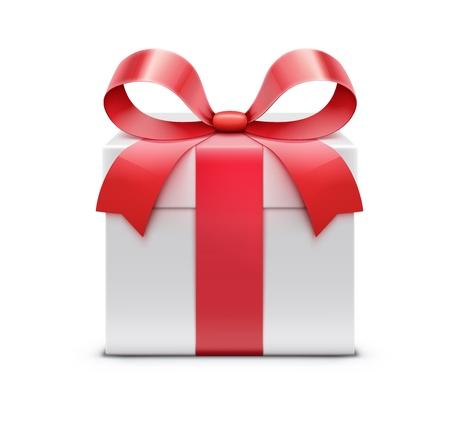 赤の弓と白のプレゼント ボックスの図