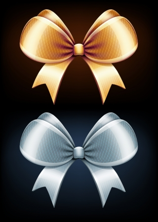 black satin: illustration of classic golden and silver bows isolated on black background Illustration