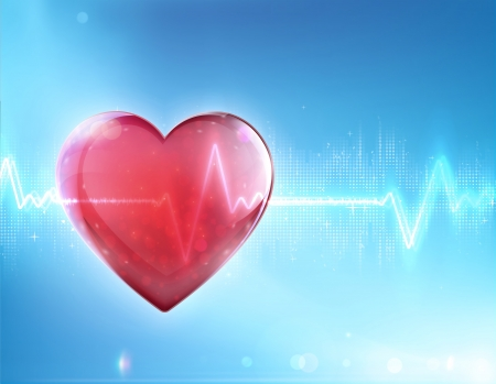 illustration of red heart shape with electrocardiogram line on blue soft background