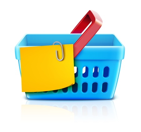 Vector illustration set of shopping concept with supermarket basket and yellow paper note list.