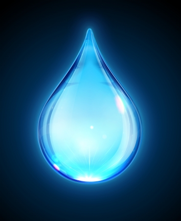 Vector illustration of a single blue shiny water drop isolated on dark background.