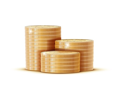Vector illustration stacks of golden coins isolated on a white background. Stock Illustratie