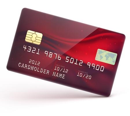 illustratie van gedetailleerde glanzende rode creditcard geïsoleerd op witte achtergrond