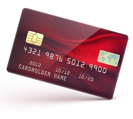 debit: illustration of detailed glossy red credit card isolated on white background