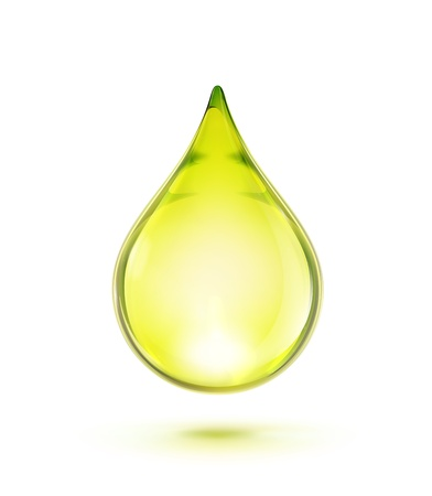 liquid gold: illustration of a single oil drop isolated on white background