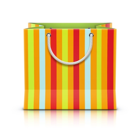 holiday shopping: illustration of multicolored paper shopping bag isolated on white background  Illustration