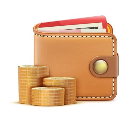 individualit�: illustrazione di realistico portafogli chiuso con le banconote, carte di credito e pila di monete isolato su uno sfondo bianco