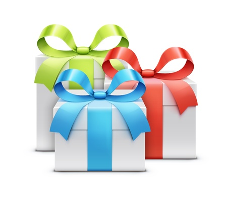 illustration of three white present boxes isolated on white background