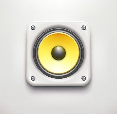 illustration of detailed sound loud speaker icon on soft background