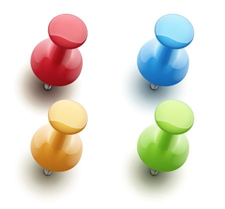 illustration of shiny push pins in a variety of bright colors isolated on white background