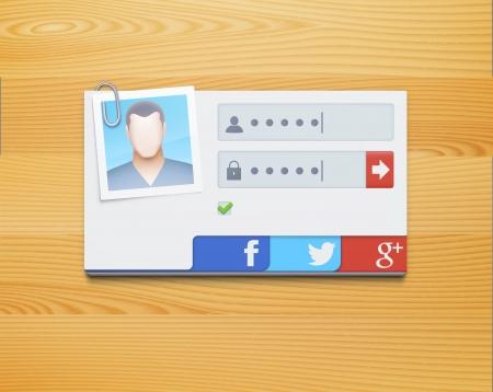 개인 정보 보호: 로그인 화면 개념의 그림 일러스트