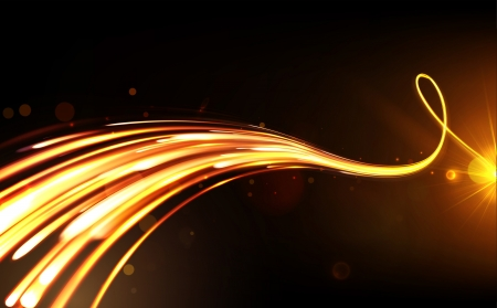 illustration of dark abstract background with blurred orangr magic neon light curved lines
