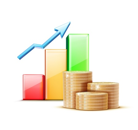 illustration of business concept with finance graph and stacks of golden coins Illustration