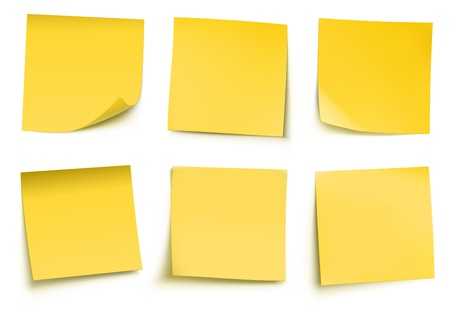 notificar: ilustraci�n del post-it amarilla notas aisladas sobre fondo blanco.