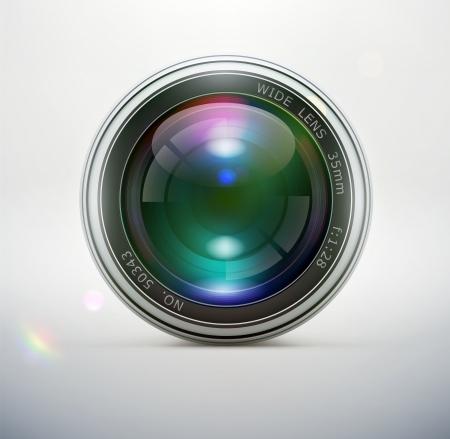 camera lens: illustratie van een enkele gedetailleerde cameralens pictogram, Vrijstaand, op zachte achtergrond