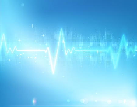 listening to heartbeat:  illustration of electrocardiogram line on blue soft background Illustration