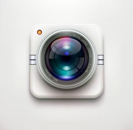 illustration d'une seule icône de sécurité détaillée caméra isolée sur fond doux