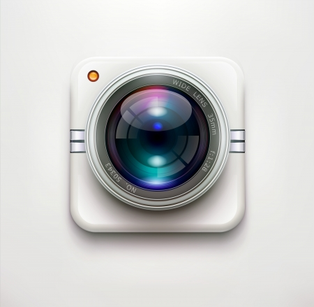 lens:  illustration of a single detailed security camera icon isolated on soft background Illustration