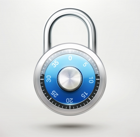 padlock icon:  illustration of security concept with locked blue combination pad lock Illustration