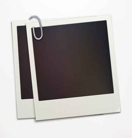 instant message:  illustration of two blank retro  photo frames over soft background