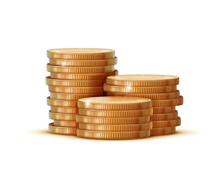 pound coin:  illustration stacks of golden coins isolated on a white background.