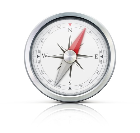 illustration of highly detailed compass isolated on a white background.