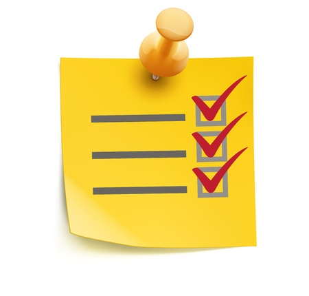 illustration of cool yellow check list with push pin isolated on a white background. Stock Illustratie