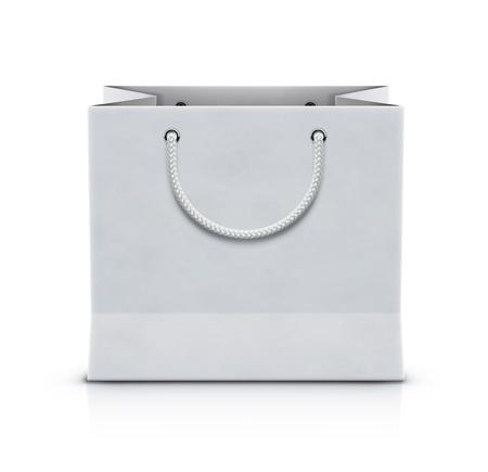 Vector illustration of white shopping paper bag isolated on white background Illustration