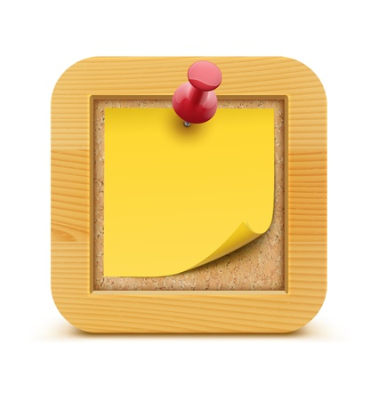 Vector illustration of post it note in on the cork bulletin board with wood frame  Illustration