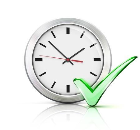 office clock: Ilustraci�n del vector del concepto de tiempo con reloj de la oficina cl�sico y comprobar icono de signo aislado sobre fondo blanco