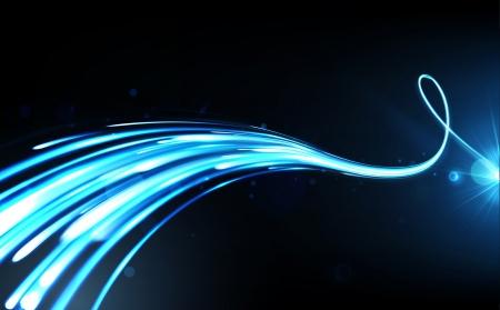 effetti di luce: Illustrazione vettoriale di sfondo blu astratto con linee di luce al neon offuscata magiche curve