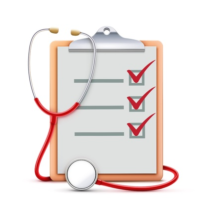 clipboard isolated: Vector illustration of healthcare concept with cool check list on clipboard and red stethoscope Illustration
