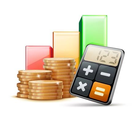 calculadora: Vector ilustraci�n de concepto de negocio con gr�fico de las finanzas, la calculadora y las pilas de monedas de oro
