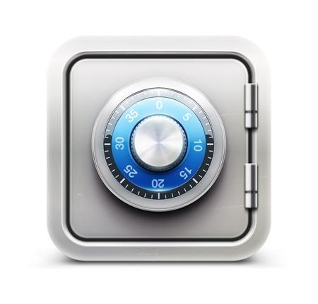 Vector ilustración de concepto de seguridad con el icono de metal seguro
