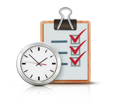 checklist: Vector illustration of timing concept with classic office clock and check list on clipboard isolated on white background