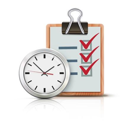 office clock: Vector la ilustraci�n del concepto de tiempo con reloj de la oficina cl�sico y lista de comprobaci�n en el sujetapapeles aislado en el fondo blanco Vectores